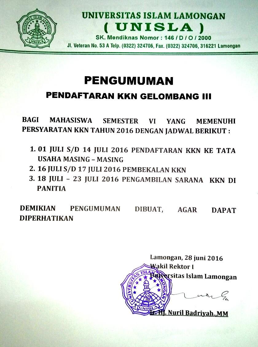 Pendaftaran KKN Gelombang III