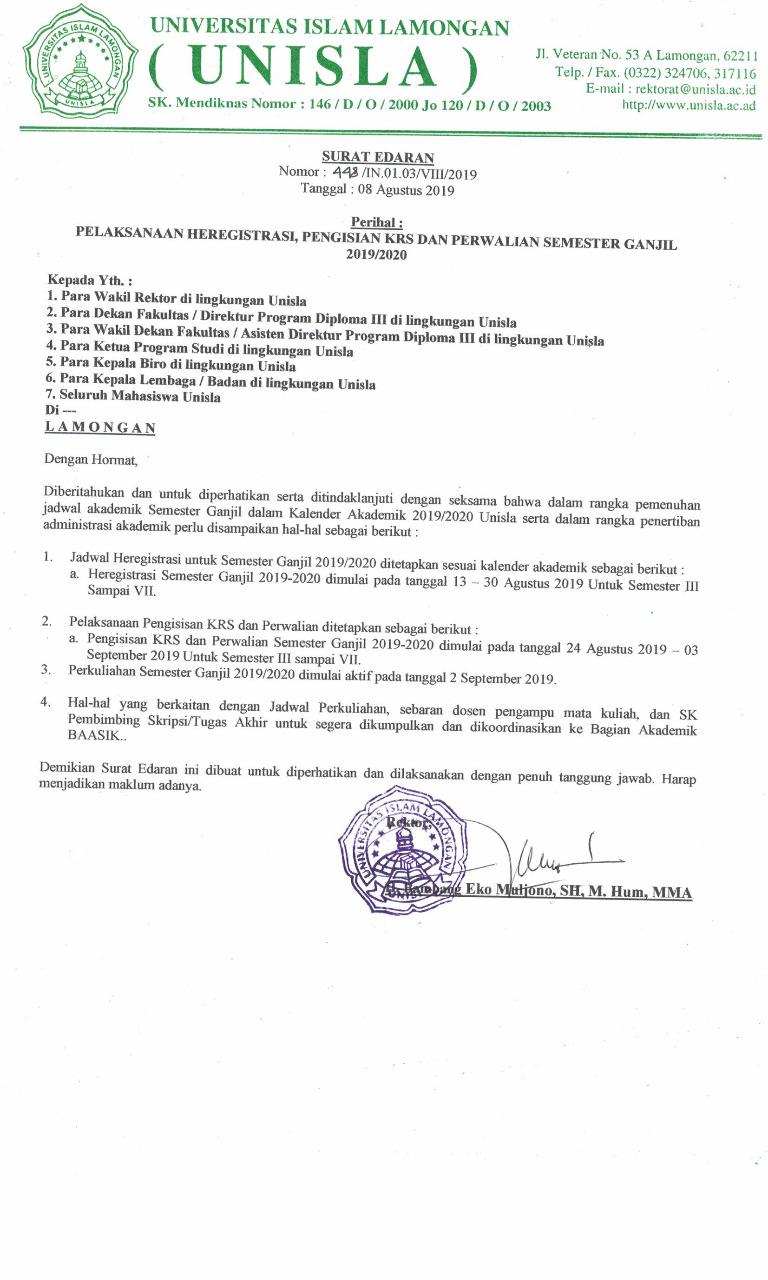 Pelaksanaan HEREGISTRASI, PENGISIAN KRS, & PERWALIAN Semester Ganjil 2019/2020