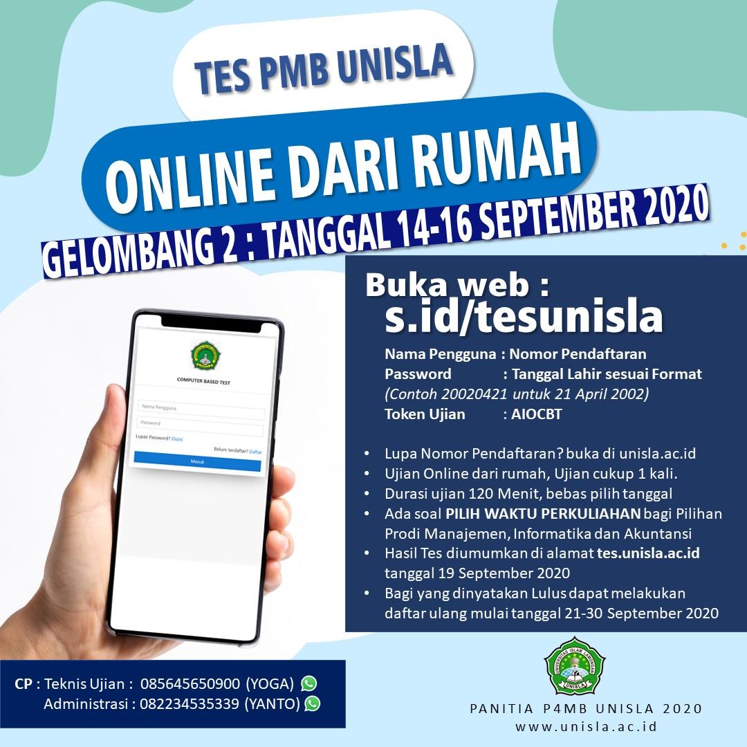 Info Tes PMB Gelombang II & Daftar Peserta Ujian